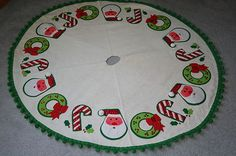 Vintage Christmas Tree Skirt ~ Felt w/ Sequins and Ball Fringe Edged * Santa, Wreath & Candy Cane