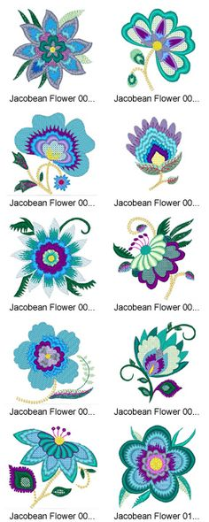 floral patterns, crewel embroidery patterns, blue, flower designs, jacobean flower, crewel flowers