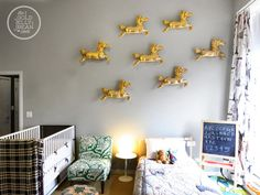 14 Ideas for Decorating Kids' Bedrooms wall art, hors, wall decor, kid bedrooms, daughters room, shared rooms, kid rooms, plastic animals, animal decor
