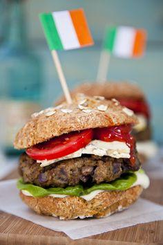 Irish Blue Cheese Burgers with Soda Bread