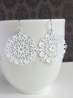 Winter Inspired Snowflake Dangle Earrings
