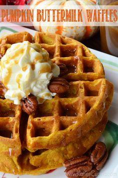 Pumpkin Buttermilk Waffles using @Charity Scantlebury Warden Waffle Baker from KatiesCucina.com