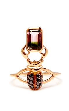 18K Rose Gold Mini Black Diamond And Tourmaline Ring by Daniela Villegas - Moda Operandi