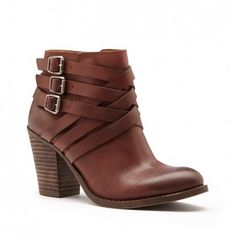 Women's Bourbon Leather 3 Inch Stacked Heel Leather Bootie | Elwoodd