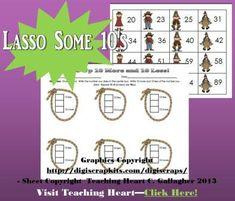 10 Less and 10 More Free Math Center Cowboy Themed Grade 1 classroom, math centers, theme math, primari math, math idea