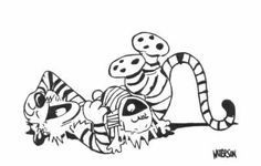 A boy his cat on pinterest calvin and hobbes cartoon for Calvin and hobbes coloring pages