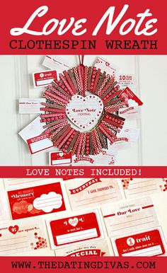 clothespins+washi tape = adorable wreath. How clever! I love the printables that are included too!  It comes with 14 days worth of love notes to countdown to Valentine's Day.