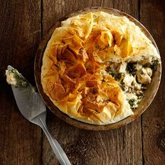 Chicken, Wild Rice and Mushroom Phyllo Pie