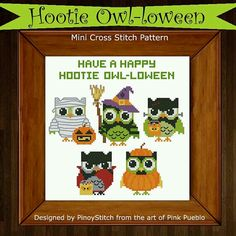 owl cross, stitch owl, crossstitch, hooti owlloween, crosses