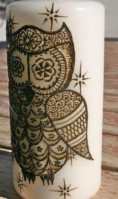 Henna Owl Candle