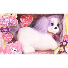 Bringing back the popular 1990s toy, Puppy Surprise comes with one huggable stuffed mother dog and a surprise litter of puppies (three, four, or five).