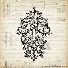 French Victorian Key Lock, Keyhole - Digital Download  for Iron on Transfer, Papercrafts, Pillows, T-Shirts, Tote Bags, Burlap, No 000425. $1.00 USD, via Etsy.