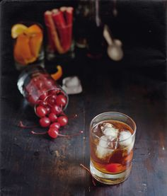 Daddy's Manhattan.  2 oz. Catdaddy Moonshine  1 1/2 oz. Rye Whisky  1/4 oz. Sweet Vermouth  2 dashes Rhubarb Bitters  1 dash Orange Liquer  Garnish with a cherry.