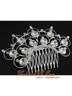 Luxurious White Headpieces With Rhinestones Decorate- $18.46  http://www.fashionos.com  bridal hair accessories | wedding jewelry sets | wedding hair combs | hair accessories for weddings | hair clips for weddings | diamond hair accessories for bride | luxurious design rhinestones hair comb for wedding |