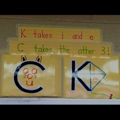Rules for when to use K or C :) I think I like this! kindergarten rules, orton gillingham kindergarten, anchor charts, languag art, kindergarten phonics, kindergarten classroom rules, the rules, teaching phonics rules, reading wonders kindergarten