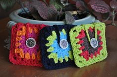 Granny Square Tea Bag Cozies. No pattern, but these are not that hard to recreate and it's a good idea for keeping your herbal bags safe and easy to find in your handbag. Make up a few for a friend as a gift.