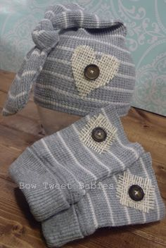 Newborn baby boy upcycled hat and legwarmers photo prop set gray and white stripe photo props