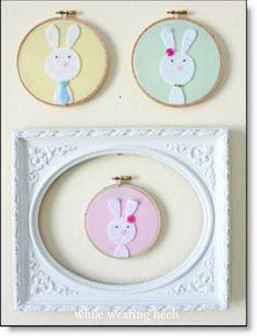 Felt bunny family in pastel hoops
