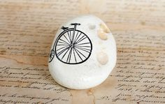 Painted Stone Bicycle Black Sea Cost White by MyHouseOfDreams, $16.90