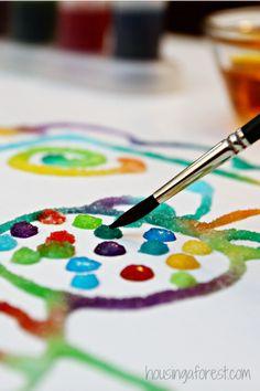 Raised Salt painting ~ simple kids art projects