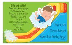Waterslide Boy Wiggler Invitation