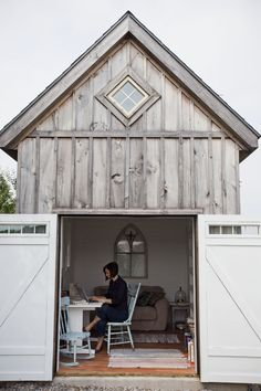 A small barn is transformed into an amazing outdoor home office.