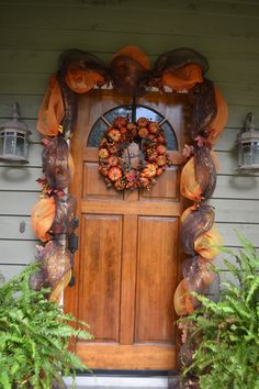 Fall leaf deco mesh garland with initial pumpkin wreath