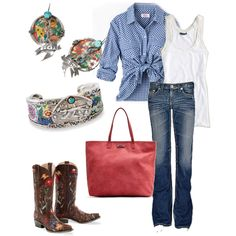 i wouldn't wear the boots & the other stuff but i like the outfit lol created by dixi3chik on Polyvore