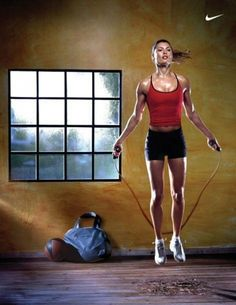 jump rope- works the whole body and you can do it anywhere