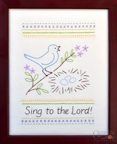 NEW - Sing to the Lord - Beginner Sampler - 100% Cotton Embroidery Pattern. $10.00, via Etsy. I think I will just draw something somewhat similar as opposed to spending $10 for one pattern!