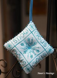 Snow Cross Stitch Ornament