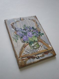 Old Chair with Flowers  Painting  Dollhouse 1 by cinderellamoments, $6.00
