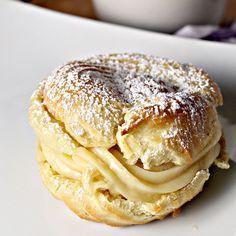 Italian Cream Puffs with Custard Filling. Add a little chocolate sauce on top!