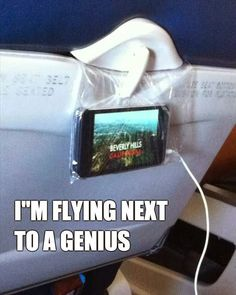 Use a Ziplock Baggie and the seat in front of you to easily view/access electronics during your flight... so smart! travel funny, idea, genius, travel funnies, seat, ziplock baggi, so smart, funny clever, clever funny