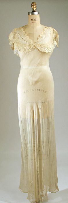 Nightgown 1931, American, Made of silk and cotton