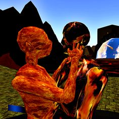Ignite Passion is a 3D model I made. A flaming woman and man embrace.