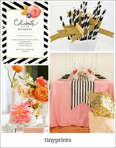 Planning an end of summer party? Try the flower pop trend by pairing bright, lush blooms with bold, graphic patterns. We love the look of black and white stripes with playful pink and coral flowers. Add a hint of metallic gold for instant glam.