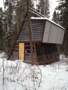 Mid century modified A-frame cabin.  Northern Saskatchewan, Canada.