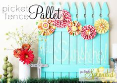 pallet fence for garden | Chalkboard Picket Fence Pallet Tutorial | Positively Splendid {Crafts ...