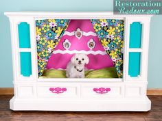 Retro TV console turned Dog castle bed - Debbiedoo's