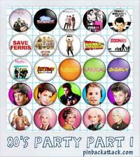 """80's PARTY Lot of 50 BUTTONS I love the 80's 1"""" one-inch 25mm pinback/badge/pins"""