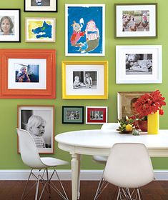 playroom- love the art and photo wall combo (not so  much the table and chairs)  wall color