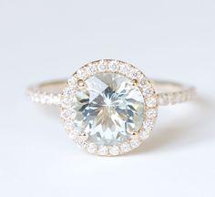 Aquamarine Diamond Halo Engagement Ring 14K Yellow gold