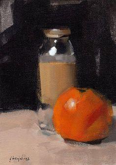 Original Painting Still Life Fruit Orange Kitchen 5x7 Acrylic Quick Study - Orange and Jar by David Lloyd.  http://www.etsy.com/shop/lloydgallery