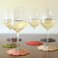 Stay-On Wine Glass Coasters.