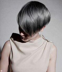 short gray hair...