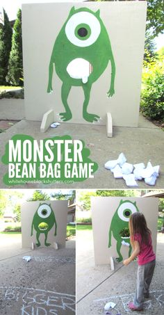 Monster Bean Bag Toss Game, perfect for parties or halloween and super simple to make. the game, fall festivals, monster bean, toss game, monsters inc, fall carnival, bean bags, bag toss, parti