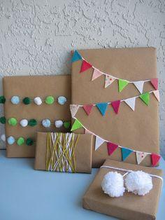 Bunting gift wrap idea