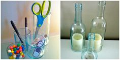 Recycled wine bottles.  Using a wine bottle glass cutter