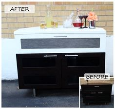 TV stand upcycled into a drink station/bar #DIY #Upcycle